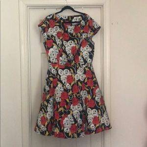 Skull and roses fit & flare dress